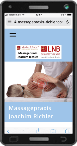 Handy Anschicht Website Massagepraxis
