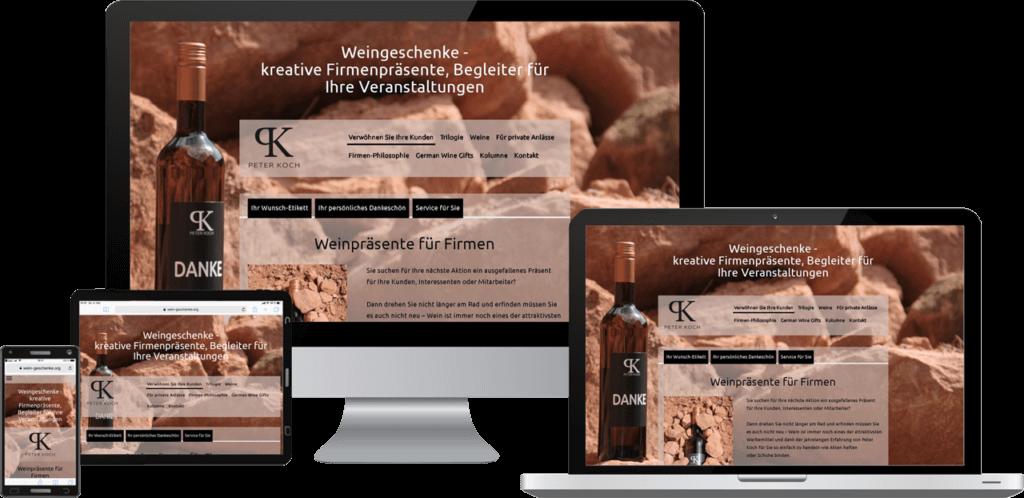 Responsive Website, Webdesign Weingeschenke