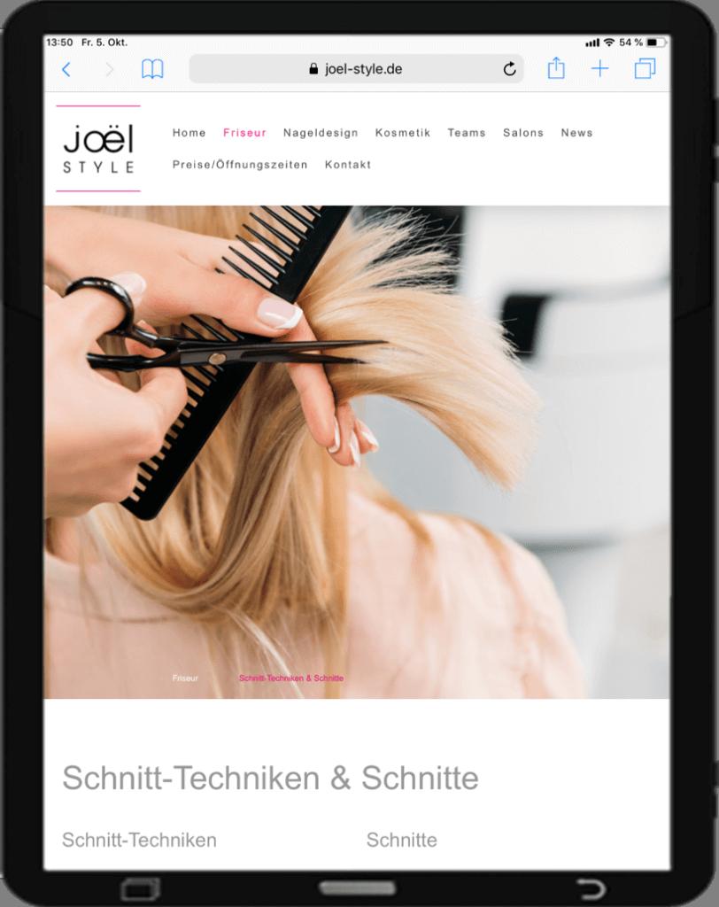 Website Friseur Tablett Ansicht