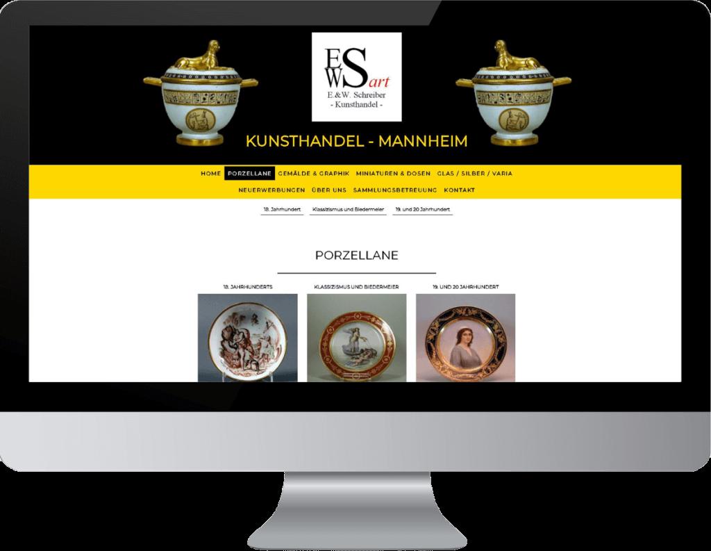 Kunsthandel Website Erstellung, Beispielseite