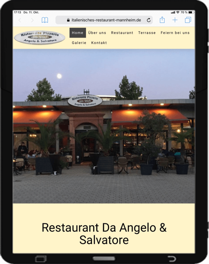 Website Restaurant, responsive Webdesign