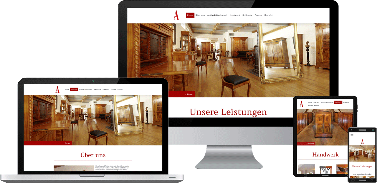 Website-Webdesign Antiquitäten